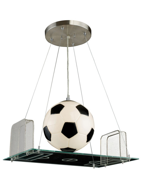 Soccer Field Pendant Light - Score a GOAL with this unique and whimsical pendant light, the perfect addition to a soccer-themed children's bedroom. This soccer field inspired novelty pendant light  is complete with a lighted soccer ball, metal mesh nets, and a lined glass field, perfect for the sports fan of any age. Includes 6 feet of cable.