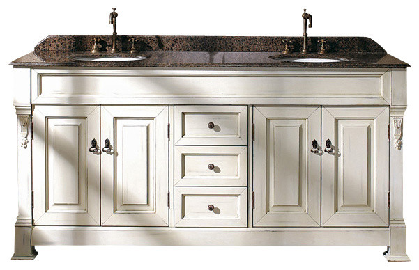 Bates 72 in double vanity antique white transitional for Antique white double sink bathroom vanities