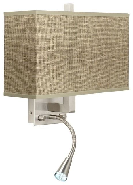 Contemporary Burlap Print Giclee LED Reading Light Plug-In Sconce