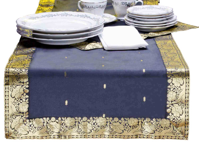 Hand Crafted Black Table Runner, 14 X 70 Inches eclectic-table-runners