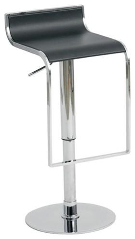 Alexander Adjustable Bar Stool In Black Leather Modern