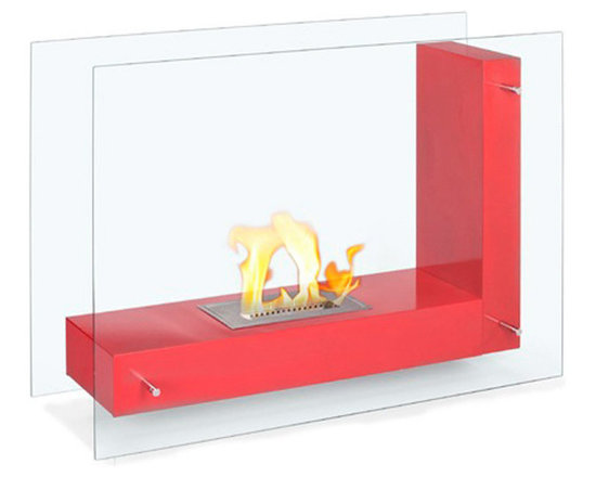 Moda Flame - Arta Contemporary  Indoor Outdoor L Shaped Ethanol Fireplace - Red - Arta ethanol contemporary ethanol fireplace is a transparent model visible from any angle in the room. Its double sided tempered glass, connected to an L shaped steel body, gives the effect of a floating flame.