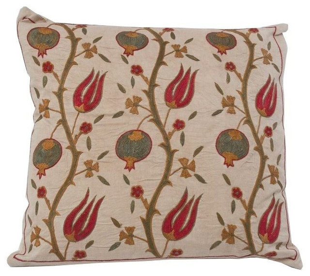Decorative Pillows Retail : Uzbek Suzani Pillow with Blossoming Vine Motif - $539 Est. Retail - $339 on Chai