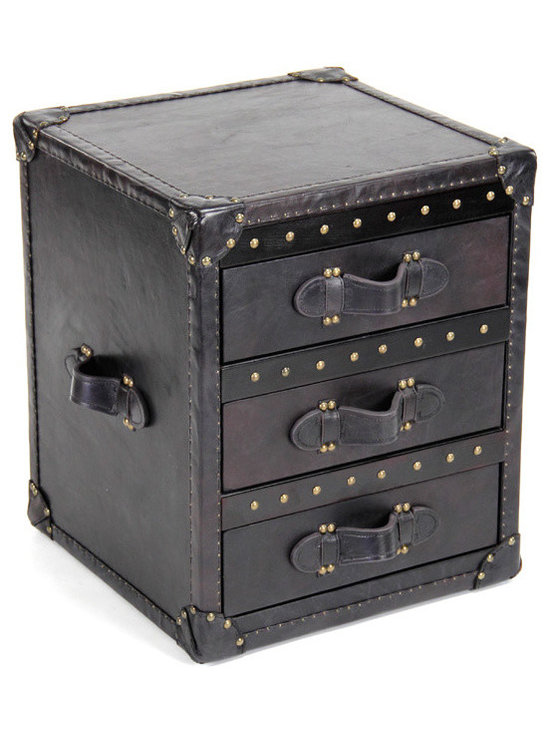 """Zentique - Zentique Leather Black Chest - Inspired by antique steamer trunks, the Zentique chest creates intriguing interior style. Studded black leather and luggage handles frame the furnishing's three drawers for sophisticated appeal. 18""""W x 18""""D x 22""""H; Glide drawers with linen interiors"""