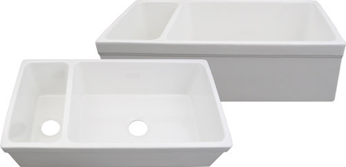 Quatro Alcove, Double Bowl Fireclay Farmhouse Sink traditional-kitchen-sinks