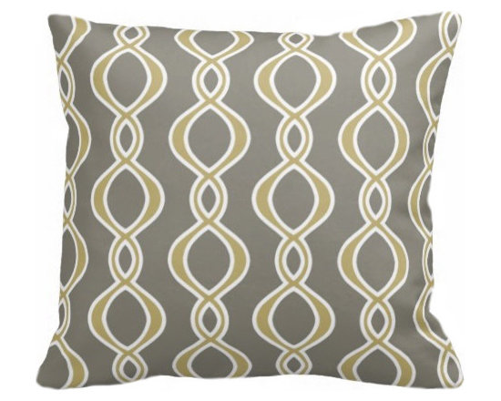 PURE Inspired Design - Twist Organic Pillow Cover, Mustard/Khaki/Natural, 18 X 12 - Collection:  PURE Beach