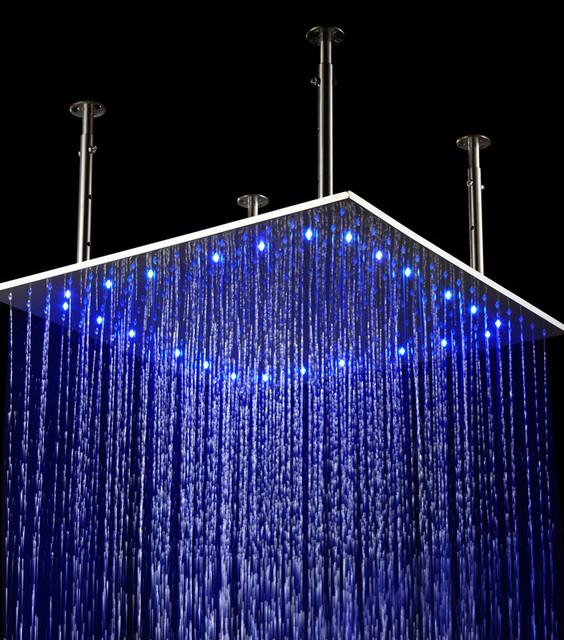 24 LED Stainless Steel Ceiling Rain Shower Head Modern Showerheads