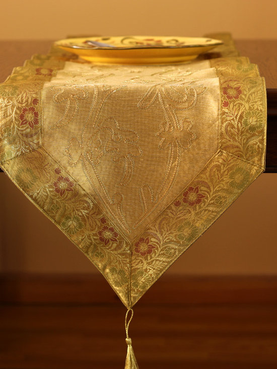 Elegant Table Runners - Unique Gold table runner. Hand crafted in India. 70x14in. Polyester fabric.