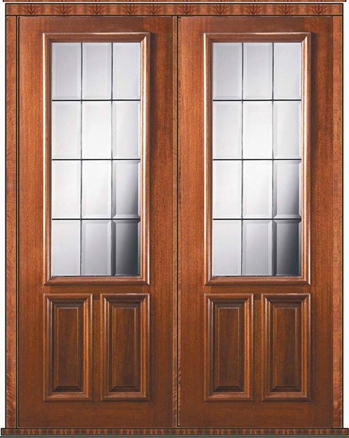 Pre hung french double door 96 mahogany french 2 3 lite for Double hung exterior french doors