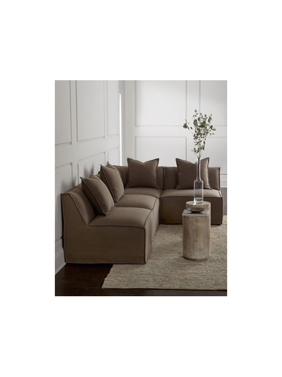 """Massoud - Massoud """"Carson"""" Square Corner Unit - Sleek and contemporary, this armless sectional lets you create the perfect conversational area where, when, and how you like. Frame made of select furniture-grade hardwoods. Polyester/linen upholstery. Select color when ordering. Suspended coil-spri..."""