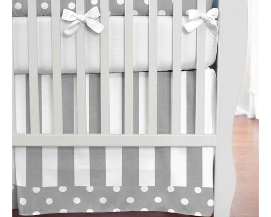 Gray and White Dots and Stripes Crib Skirt -