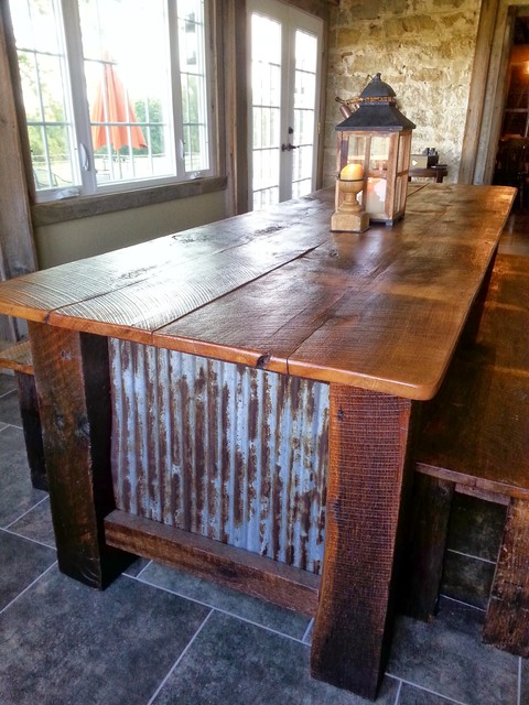 Farmhouse Barnwood Table With Benches Rustic Dining