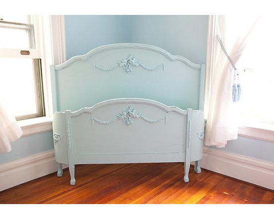 antique aqua blue full bed frame -