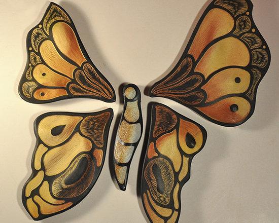 Butterfly tiles - handmade, sgraffito-carved, ceramic wall and backsplash tiles by Natalie Blake Studios. www.natalieblakestudios.com