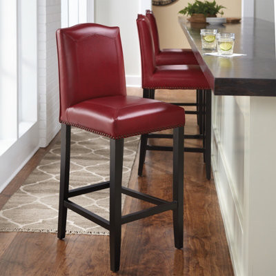 Carson Leather Bar Stool traditional-paintings