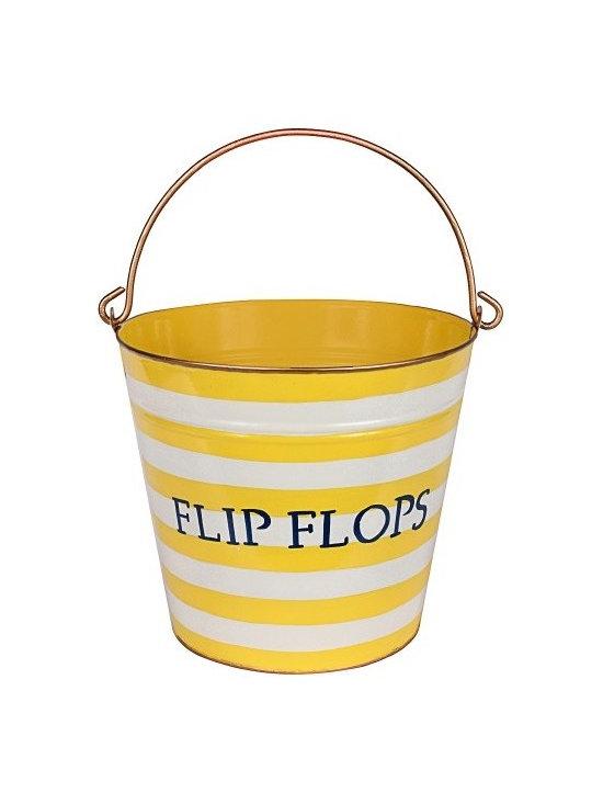 Horizontal Stripes Yellow 'Flip Flop' Pail -