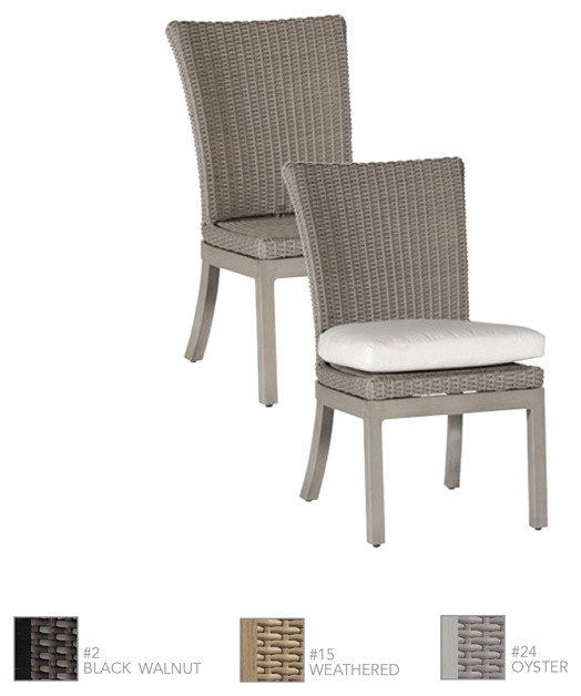 Rustic Woven Resin Wicker Dining Side Chair By Summer