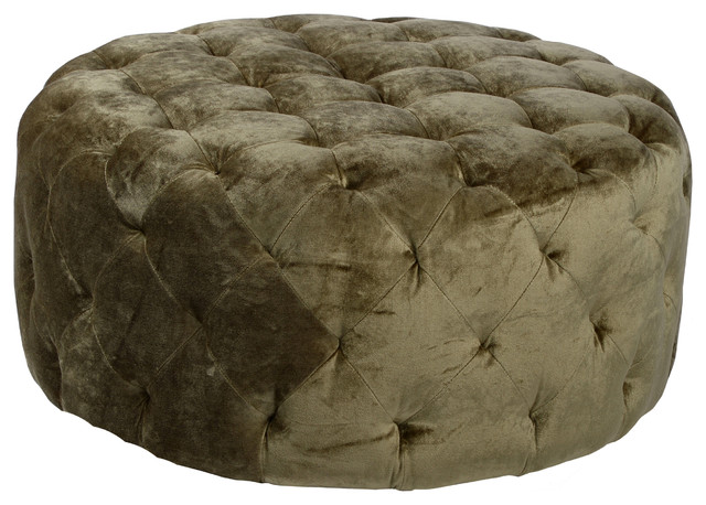 Victoria 36 Quot Round Moss Green Ottoman Traditional
