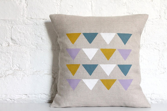 Hand Printed Linen Cushion Cover, Triangles by Hello Milky contemporary pillows