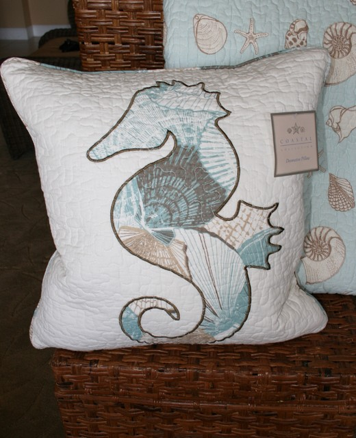 Spring Coastal Collection Seahorse Accent Pillow tropical bedroom products