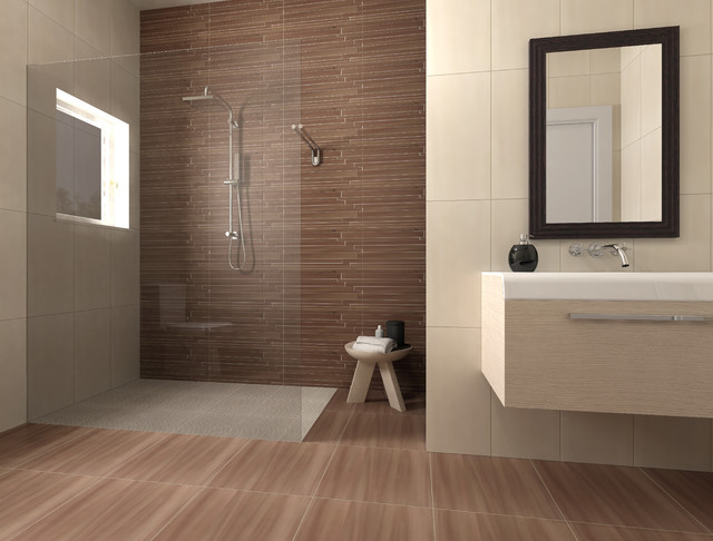 Brown and beige bathroom - Beige bathroom design ...