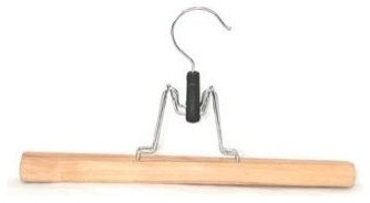 Genesis Flat Skirt Hanger in Natural Lacquer contemporary-hooks-and-hangers