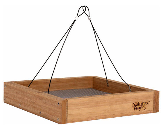 Nature's Way - Bamboo Tray Feeder - Hanging or Platform Tray feeder has extra spacing to accommodate large birds. It is made of solid cross-ply bamboo and the rust-free removable fresh seed tray lifts out easily for cleaning and allows water to drain.