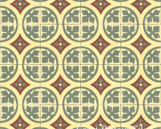 Cement Tile - Patterns - Cement tile - French Flower pattern - Green, Red, Jaune Clair - 8x8