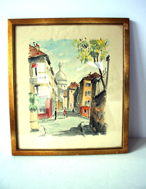 Vintage Paris Watercolor Painting by Mighty Finds traditional-artwork