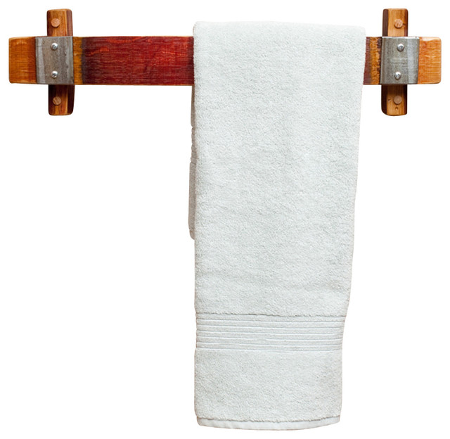 Banded Barrel Stave Towel Rack -Small rustic-towel-racks-and-stands