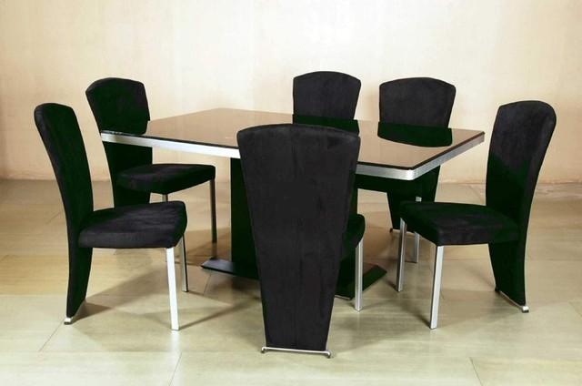 Contemporary Style Rectangular Glass Top Microfiber Seats Dining Room Furnitu