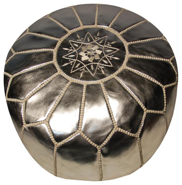 Moroccan Pouf, Silver mediterranean-floor-pillows-and-poufs