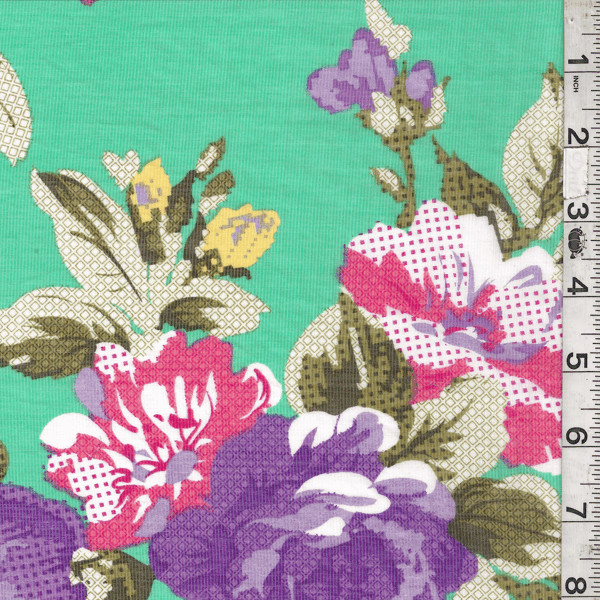 Mint Green Floral Lawn Fabric contemporary-fabric
