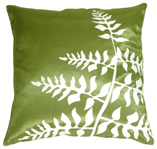 Pillow Decor - Green with White Bold Fern Throw Pillow contemporary-decorative-pillows