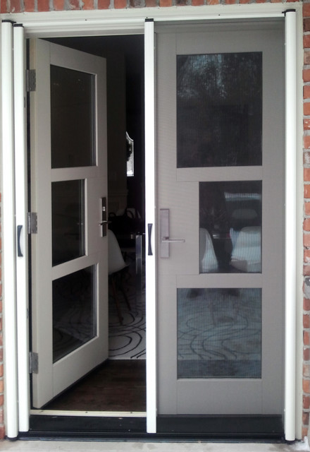 French door retractable screen contemporary screen for Sliding screen door canada