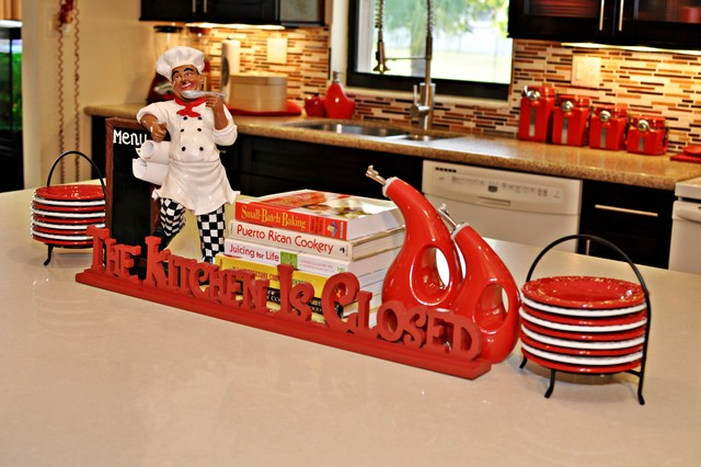 Red Spicy Hot Kitchen eclectic-kitchen