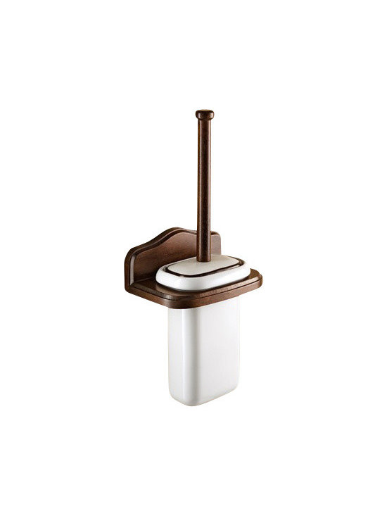 Gedy - Wall Mounted Porcelain Toilet Brush Holder With Wood Mount - Classic style wall toilet brush holder made of porcelain and wood in an old walnut finish.