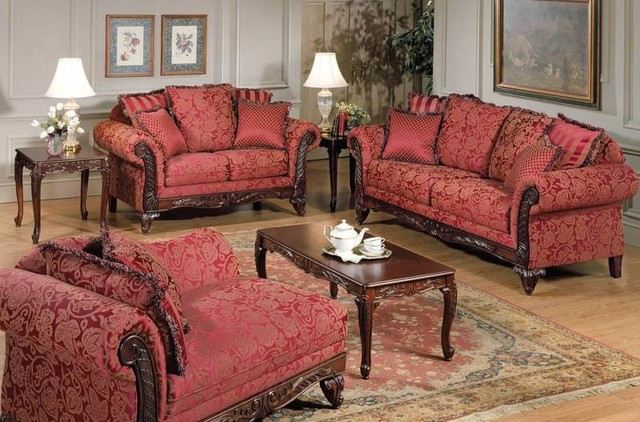 appealing traditional fabric sofas living room furniture | Flora Magenta Fabric Traditional Sofa Set - Traditional ...