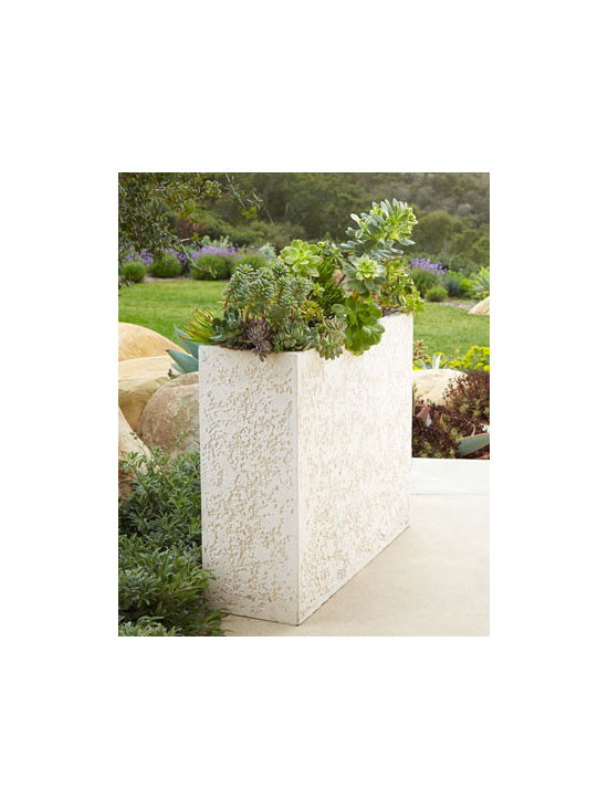 Horchow - Thin Planter - This planter features crushed stone and a thin rectangular shape for a sleek modern display for your outdoor greenery. Handcrafted of crushed stone/polyester resin/styrene/fiberglass. Hand-painted fossil stone finish. Outdoor safe. Sold individually...