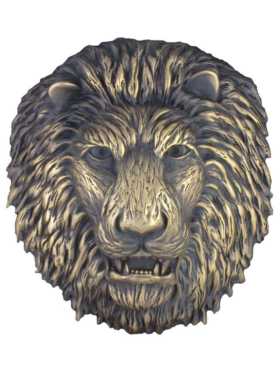 "Metal finish pool fountain spitter lion head - Size:Lion Head 13"" x 12"" x 5"""