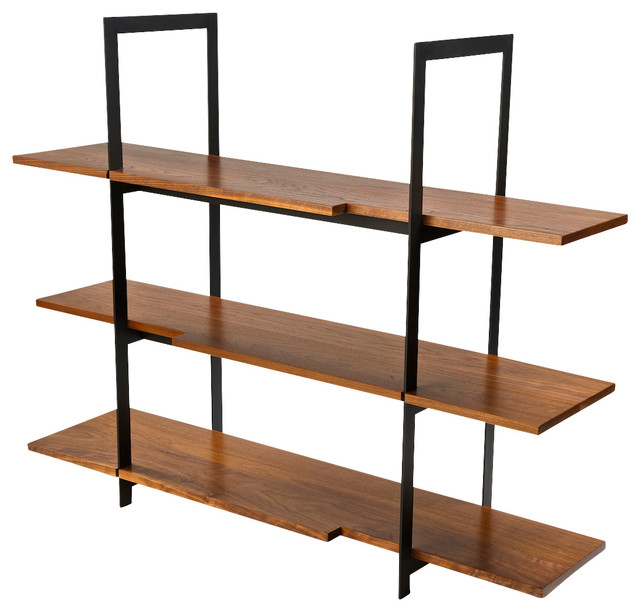 Wood And Black Steel Shelving Unit Modern Display