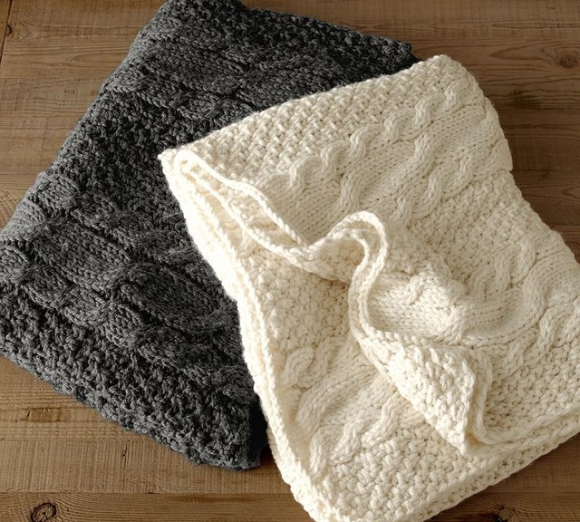 Chunky Cable-Knit Oversize Throw - Traditional - Throws - sacramento - by Pot...