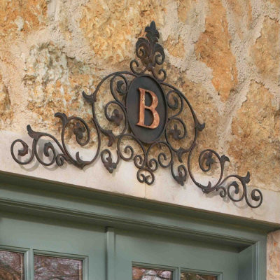 Monogrammed Overdoor Plaque traditional outdoor decor
