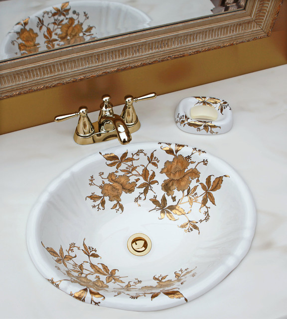 Gold Orchids Hand Painted Sink In Elegant Gold Powder Room