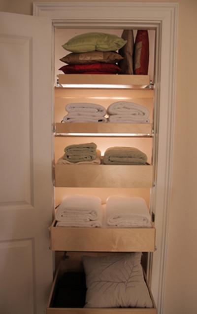 Pull Out Linen Shelves contemporary-closet-organizers
