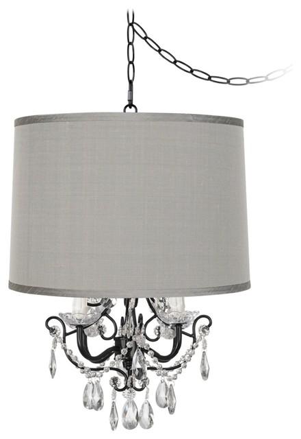 Chandelier lamp shade grey : Traditional crystal glitter designer grey shade swag