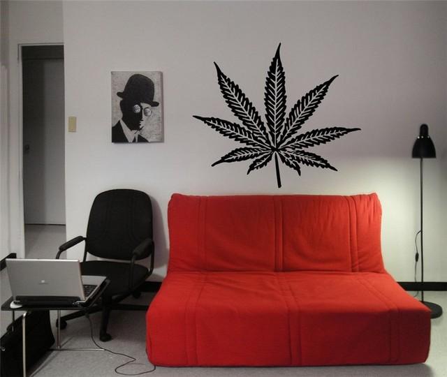 Wall Decals By Design : Cannabis leaf stylish floral design wall vinyl sticker