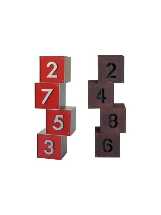 Cube Metal Address Sign - stackable, simple modern address sign - I absolutely love these cubed house numbers.  The childhood building block form adds something playful while the colors and finish options make sure they can fit in with your style.