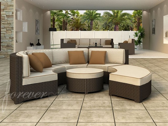 Forever Patio Hampton 6 Seat Radius Sectional Patio Furniture And Outdoor F