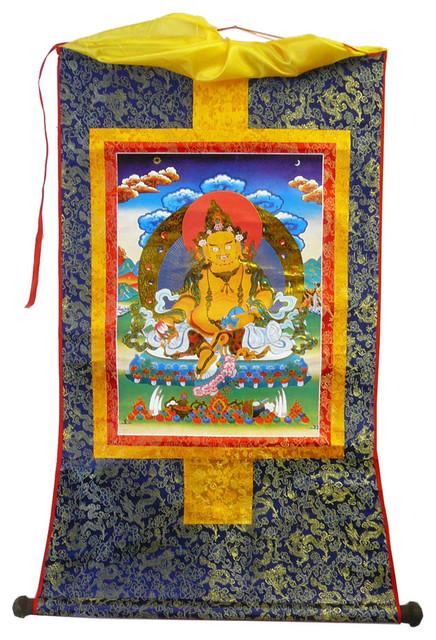 Tibetan Print Fabric Trim Deity Art Wall Scroll Thangka - Craftsman - Tapestries - by Golden ...